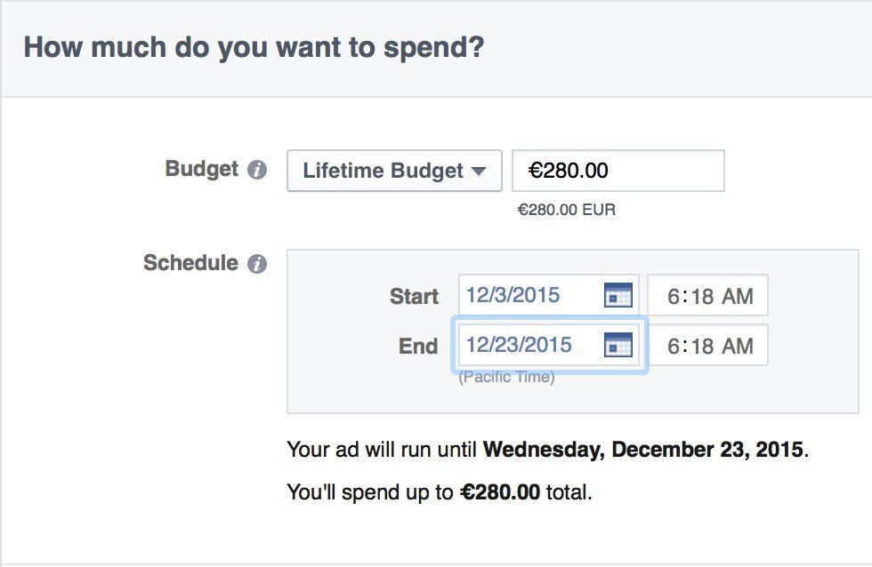 facebook campagna budget totale