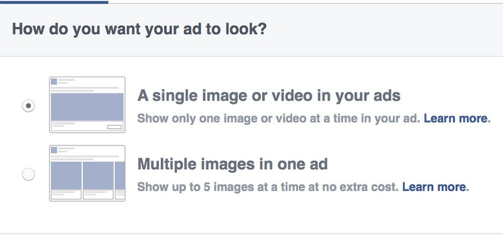 facebook ads immagine singola o carousel
