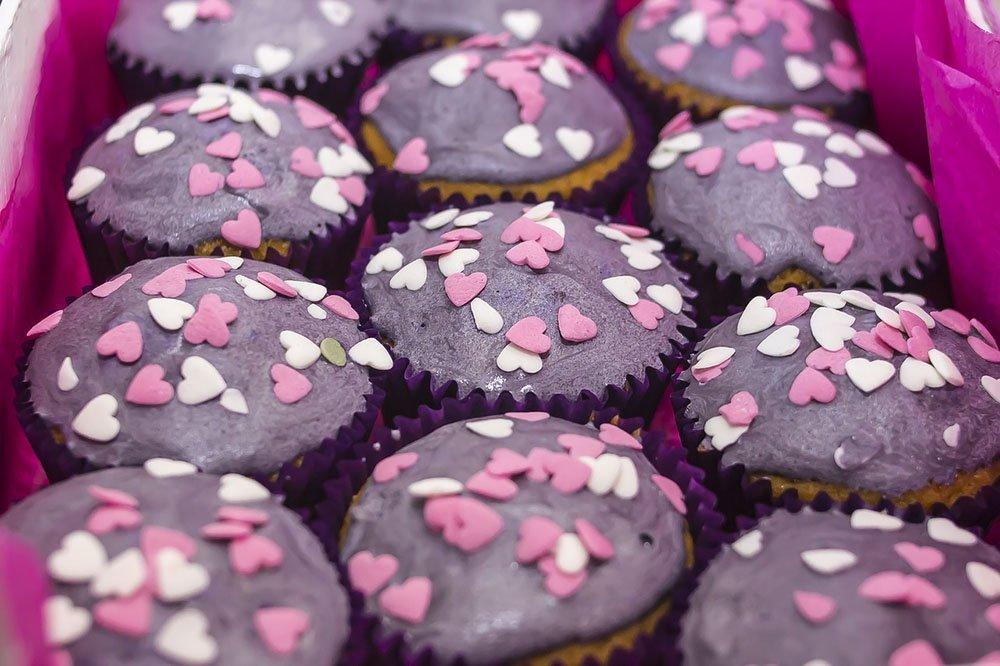 muffin rosa con cuoricini