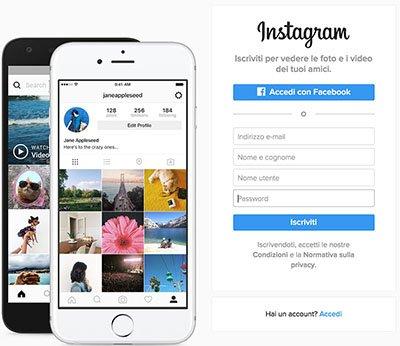 iscriversi su Instagram