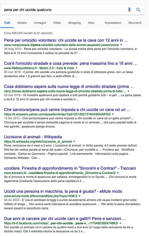 pena per chi uccide qualcuno - rankbrain google