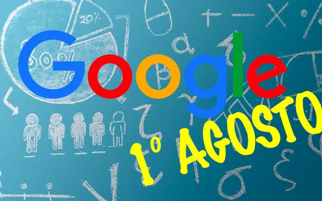 Algoritmo di Google: cosa è successo il primo agosto 2018