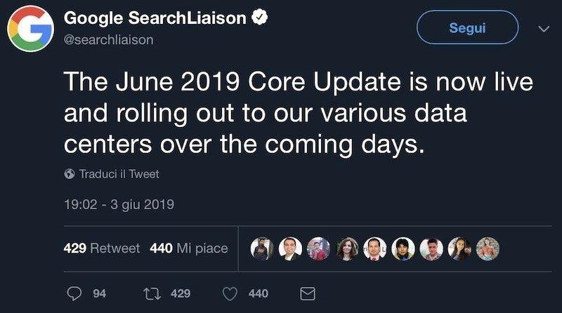 Tweet di Google sull'update di giugno 2019