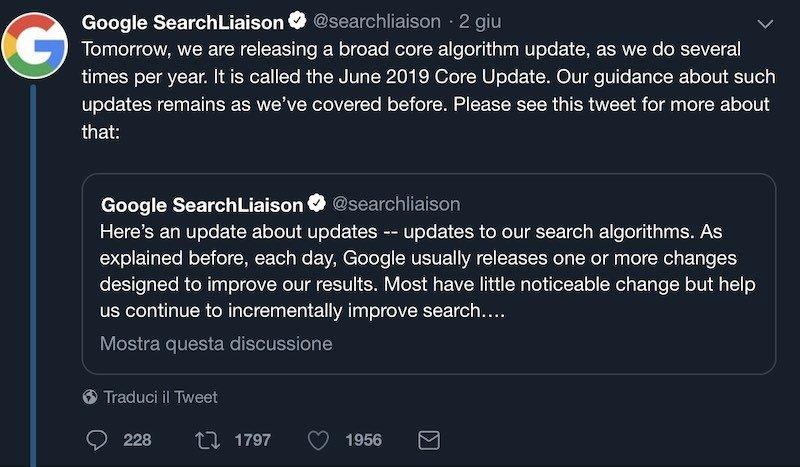 Tweet di Google sul rilascio del June 2019 Update