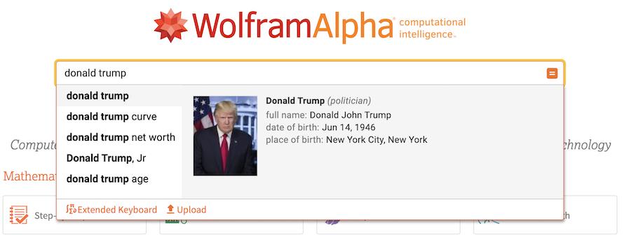 donald trump - wolflram alpha