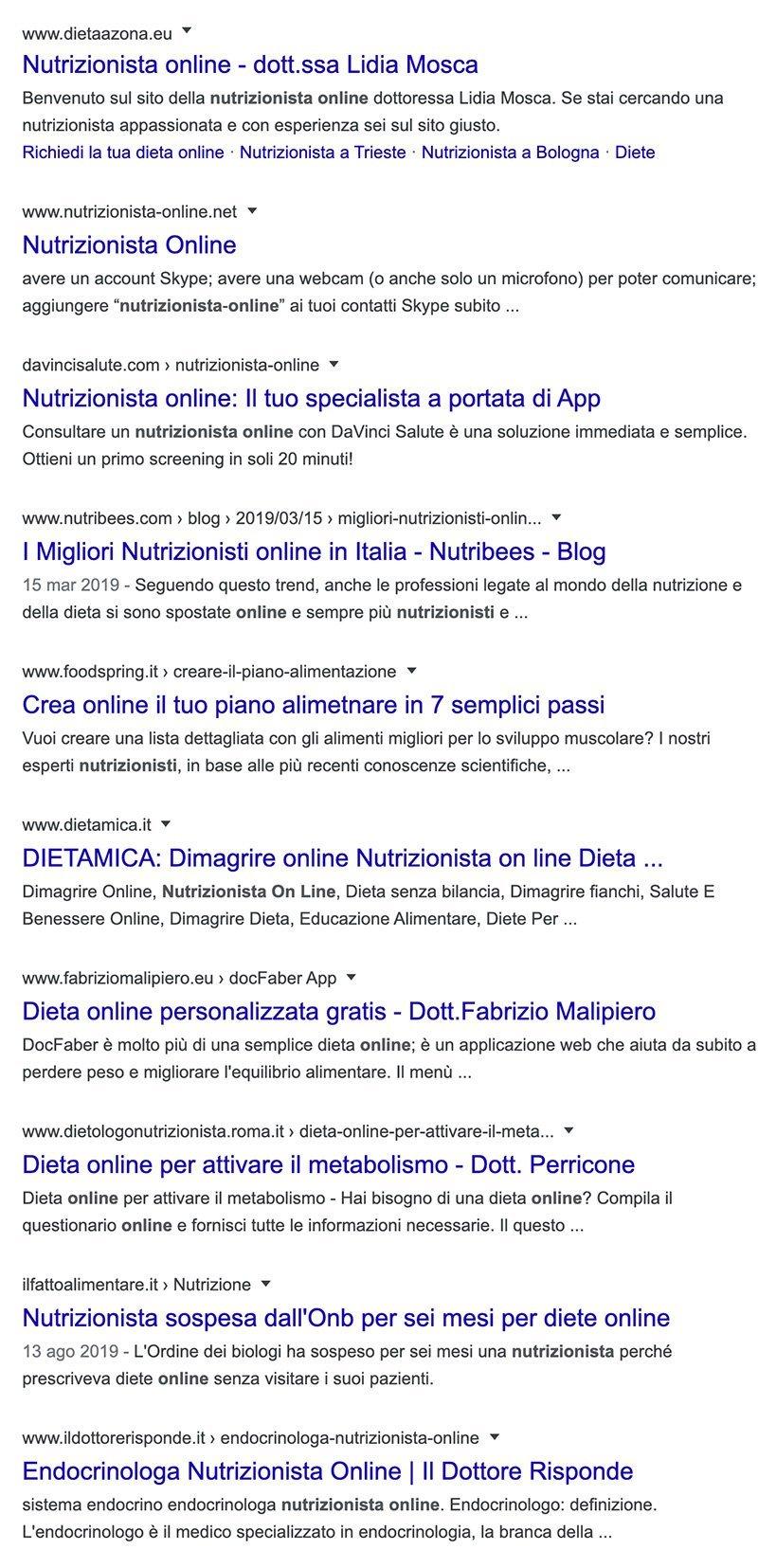 serp nutrizionista online