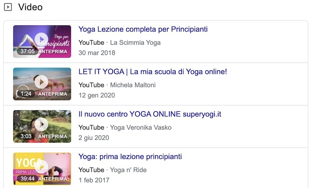 yoga online youtube serp